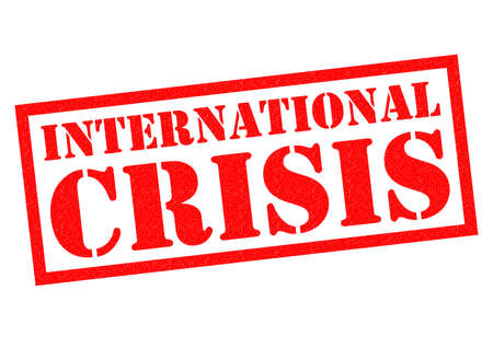 alarming: INTERNATIONAL CRISIS red Rubber Stamp over a white background.