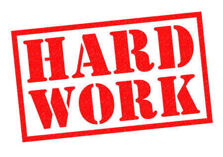 tiring: HARD WORK red Rubber Stamp over a white background. Stock Photo