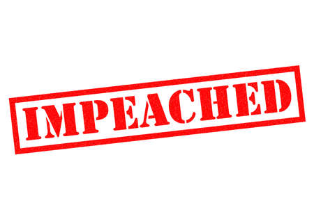 reprimand: IMPEACHED red Rubber Stamp over a white background. Stock Photo