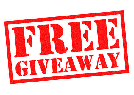 giveaway: FREE GIVEAWAY red Rubber Stamp over a white background. Stock Photo