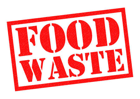 wasting away: FOOD WASTE red Rubber Stamp over a white background. Stock Photo
