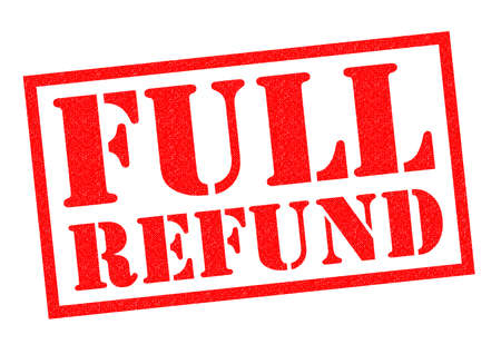 compensated: FULL REFUND red Rubber Stamp over a white background. Stock Photo