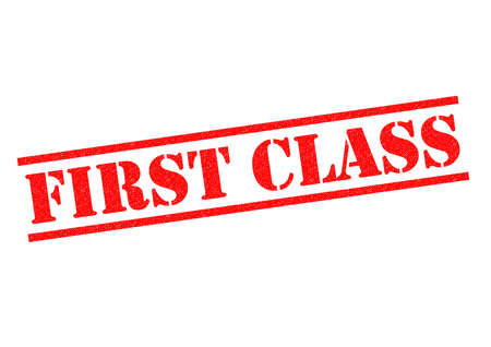 first class: FIRST CLASS red Rubber Stamp over a white background.