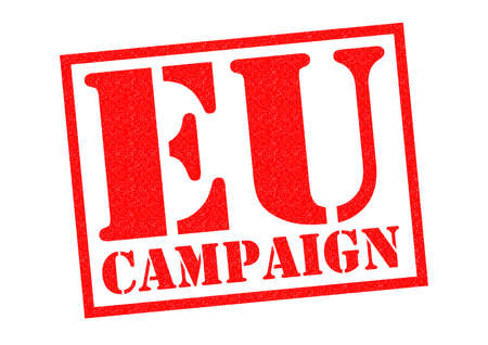 campaigning: EU CAMPAIGN red Rubber Stamp over a white background.