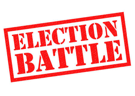 mayor: ELECTION BATTLE red rubber Stamp over a white background. Stock Photo