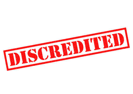 unauthorised: DISCREDITED red Rubber Stamp over a white background.