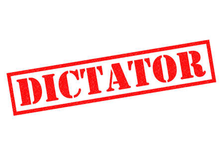 dictatorship: DICTATOR red Rubber Stamp over a white background.