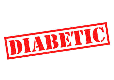 type 1 diabetes: DIABETIC red Rubber Stamp over a white background.