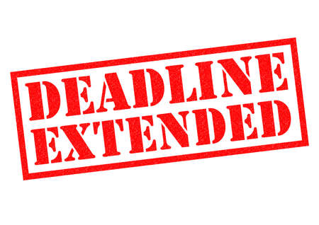 uni: DEADLINE EXTENDED red Rubber Stamp over a white background.