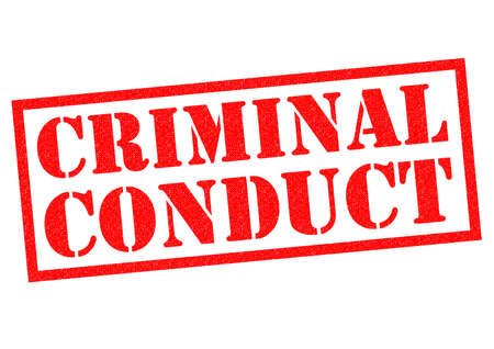 breaking law: CRIMINAL CONDUCT red Rubber Stamp over a white background. Stock Photo