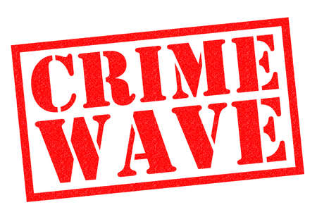 lawlessness: CRIME WAVE red Rubber Stamp over a white background.