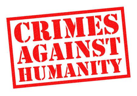 CRIMES AGAINST HUAMNITY red Rubber Stamp over a white background. Stock Photo