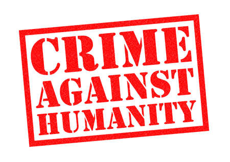 unlawful act: CRIME AGAINST HUMANITY red Rubber Stamp over a white background.