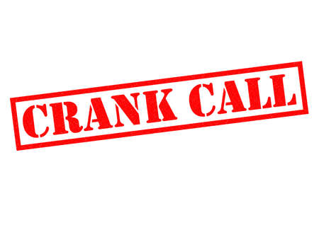 CRANK CALL red Rubber Stamp over a white background.