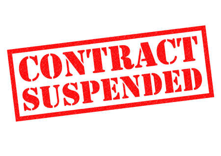 misunderstanding: CONTRACT SUSPENSION red Rubber Stamp over a white background.