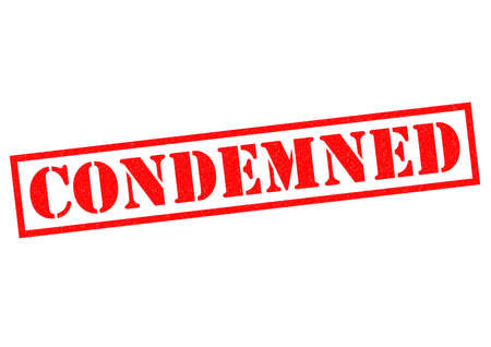 condemnation: CONDEMNED red Rubber Stamp over a white background.