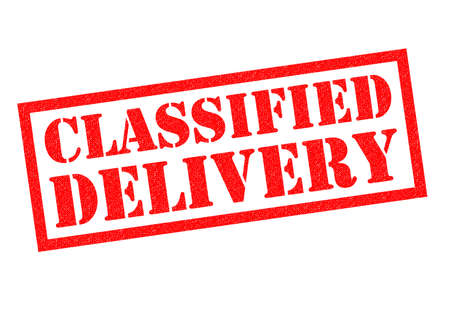 specialty: CLASSIFIED DELIVERY red Rubber Stamp over a white background.