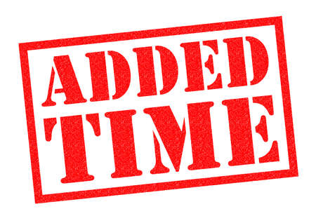 shootout: ADDED TIME red Rubber Stamp over a white background. Stock Photo