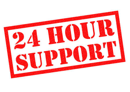 24 hour: 24 HOUR SUPPORT red Rubber Stamp over a white background. Stock Photo