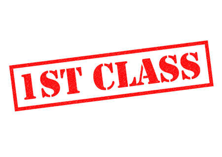 mailed: 1ST CLASS red Rubber Stamp over a white background. Stock Photo