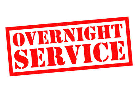 overnight: OVERNIGHT SERVICE red Rubber Stamp over a white background.