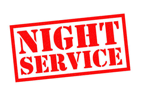 twenty four hour: NIGHT SERVICE red Rubber Stamp over a white background. Stock Photo