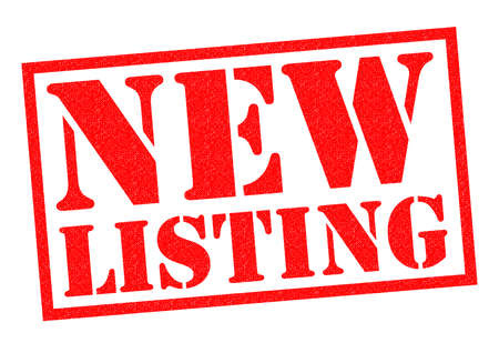 listings: NEW LISTING red Rubber Stamp over a white background. Stock Photo