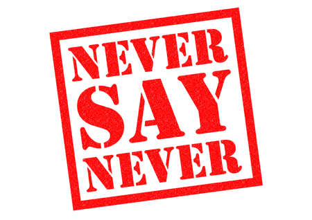 dont give up: NEVER SAY NEVER red Rubber Stamp over a white background.