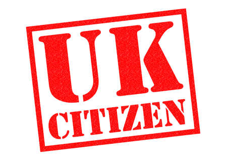 citizen: UK CITIZEN red Rubber Stamp over a white background.