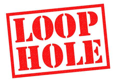 흰색 배경 위에 LOOP HOLE 빨간 고무 스탬프입니다.
