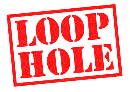 avoiding: LOOP HOLE red Rubber Stamp over a white background.