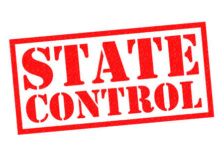 authoritarian: STATE CONTROL red Rubber Stamp over a white background.