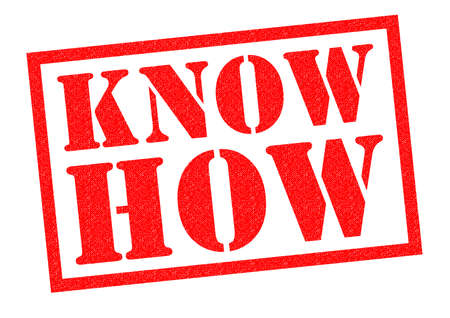 know how: KNOW HOW red Rubber Stamp over a white background.