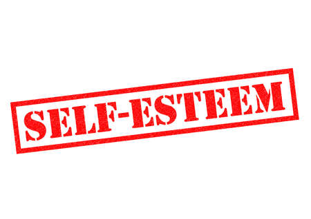 self esteem: SELF ESTEEM red Rubber Stamp over a white background.
