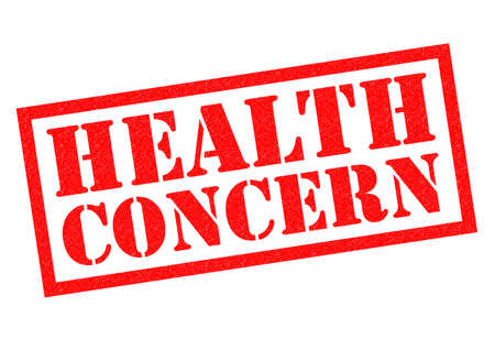 the concern: Preocupaci�n por la salud del sello de goma de color rojo sobre un fondo blanco.