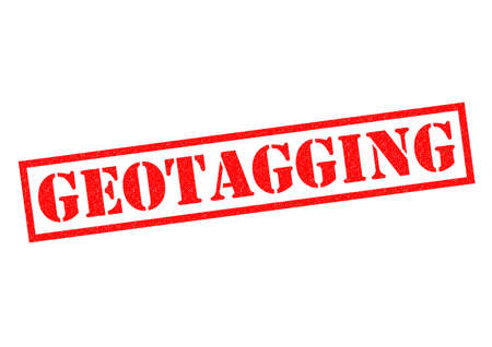 geocaching: GEOTAGGING red Rubber Stamp over a white background. Stock Photo