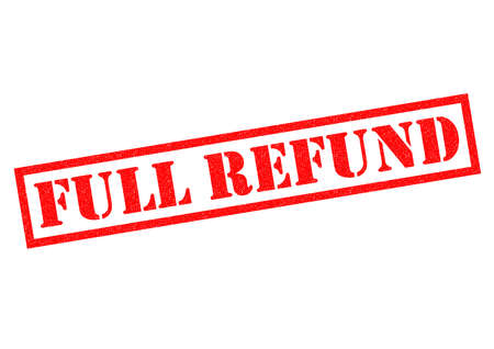 refund: FULL REFUND red Rubber Stamp over a white background. Stock Photo