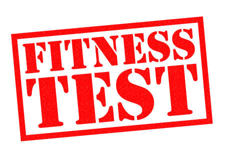 stamping: FITNESS TEST red Rubber Stamp over a white background.