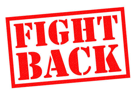 come back: FIGHT BACK red Rubber Stamp over a white background.