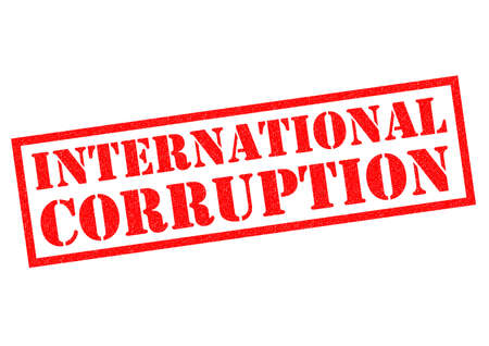 wrongdoing: INTERNATIONAL CORRUPTION red Rubber Stamp over a white background. Stock Photo