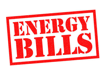 red bills: ENERGY BILLS red Rubber Stamp over a white background. Stock Photo