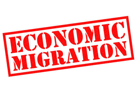 migrated: ECONOMIC MIGRATION red Rubber Stamp over a white background.