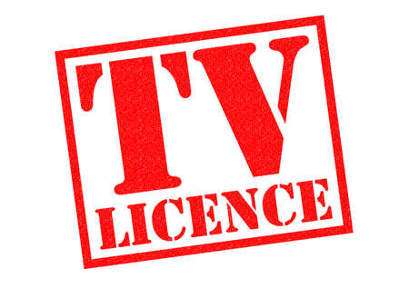 dues: TV LICENCE red Rubber Stamp over a white background.