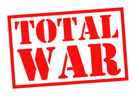 total: TOTAL WAR red Rubber Stamp over a white background.