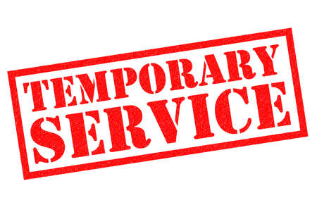 temporary: TEMPORARY SERVICE red Rubber Stamp over a white background.