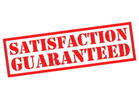 satisfaction guaranteed: SATISFACTION GUARANTEED red Rubber Stamp over a white background. Stock Photo