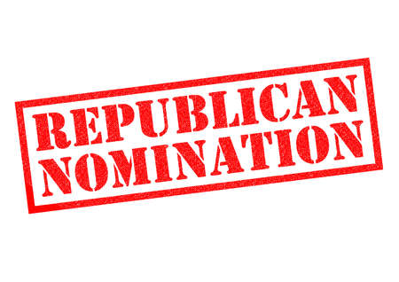nomination: REPUBLICAN NOMINATION red Rubber Stamp over a white background.