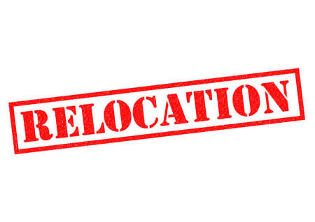 moved: RELOCATION red Rubber Stamp over a white background.