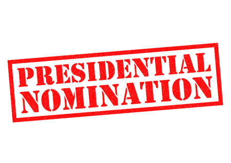 nominated: PRESIDENTIAL NOMINATION red Rubber Stamp over a white background.