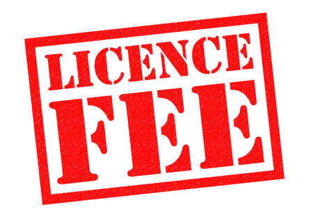 licence: LICENCE FEE red Rubber Stamp over a white background.
